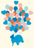 Balloons. Elephant. Gift. Vintage postcard. Colorful balloons an Stock Images