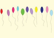 Balloons. Eleven colorful balloons  on cream background Royalty Free Stock Image
