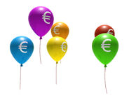 Balloons with euro symbol Stock Photography
