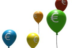 Balloons with euro symbol Royalty Free Stock Photo