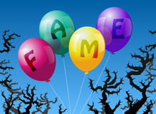 Balloons Fame. Four balloons, which are labeled with the word FAME, are threatened by thorns Royalty Free Stock Photos