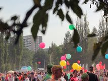 Balloons on festival of colors stock photography
