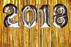 2018 Balloons on festive background. Christmas and New Year Celebration royalty free stock image
