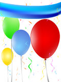 Balloons festivity decoration. With colored strings and blue blank banner stock illustration