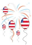 Balloons on firework background. For independence day. Vector illustration Royalty Free Stock Photos
