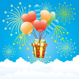Balloons, firework and gift box. Stock Images