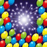 Balloons and firework. Stock Photos