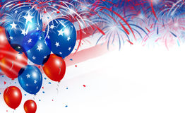 Balloons on fireworks background Royalty Free Stock Photo