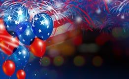 Balloons on fireworks background Stock Photo