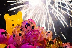 Balloons and fireworks stock photos