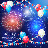 Balloons and fireworks on Independence day background. Holiday balloons, colorful pennants and fireworks on sky background. Independence day. Fourth of july Stock Photos