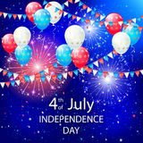 Balloons and fireworks on Independence day. Balloons, pennants and fireworks on Independence day background, illustration Royalty Free Stock Image