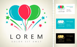 Balloons and fireworks vector logo. Logo design vector illustration Royalty Free Stock Images