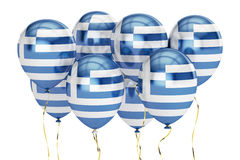Balloons with flag of Greece, holiday concept. 3D rendering Stock Photos