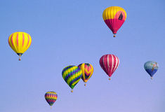 Balloons in flight. Hot-air balloons in flight during a balloon festival in Iowa stock photo