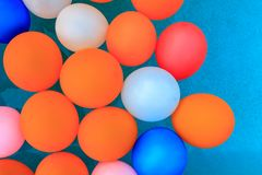 Balloons floating in pool background royalty free stock photography