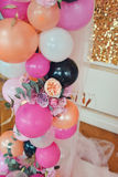 Balloons and flowers Royalty Free Stock Photo