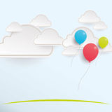 Balloons flowing with the clouds Stock Image