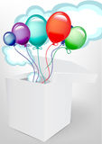 Balloons and fluffy clouds in white box Stock Images