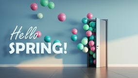 Balloons fly away through open door. In office interior. 3D render Royalty Free Stock Images