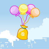 Balloons fly with a bag of money. On sky Royalty Free Stock Photos