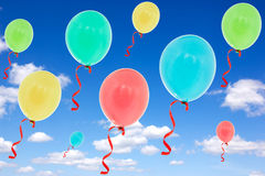 Balloons fly into the  sky Stock Image