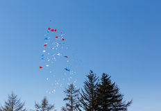 Balloons fly in the sky Stock Photo