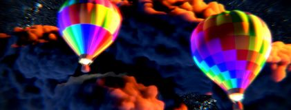 Free Balloons Flying Among The Clouds Towards The Outer Space Stock Images - 116635354
