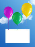 Balloons. Flying balloons with card in blue sky Royalty Free Stock Photos