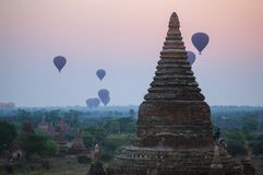 Balloons flying over the ancient pagodas