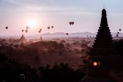 Balloons flying over asian country royalty free stock image