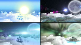 Balloons flying over clouds at different times stock footage