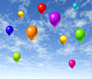 Balloons flying in the sky. Representing a party isolated on white royalty free illustration