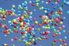 Balloons flying in the sky. Colorful balloons flying in the sky Stock Photos
