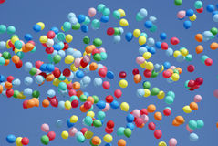Balloons flying in the sky. Colorful balloons flying in the sky Stock Photography