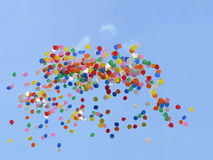 Balloons flying in the sky. Balloons flying on the sky background Stock Photography