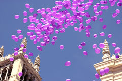 Balloons flying in sky in celebration Royalty Free Stock Photography