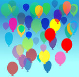 Balloons flying in the sky. Vector illustration of balloons flying in the sky with transparency Stock Photography