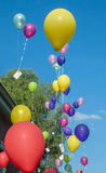 Balloons flying up with greeting cards Royalty Free Stock Images