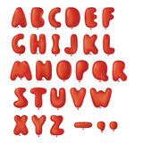 Balloons font set. Red dimensional balloons with letters shape Stock Image