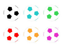 Balloons of football. In diferents colors Royalty Free Stock Photo