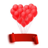 Balloons in form of heart holding big blank red Royalty Free Stock Photo
