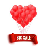 Balloons in form of heart holding big sale banner Royalty Free Stock Images