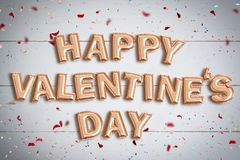 Balloons forming the words `Happy Valentine`s Day` Royalty Free Stock Photo