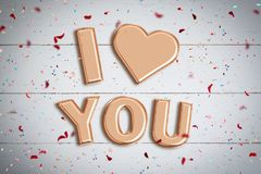 Balloons forming the words `I love you` royalty free stock images