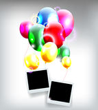 Balloons with frame for birthday background Stock Photos