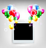 Balloons with frame for birthday background Stock Image