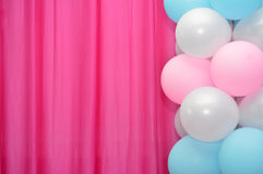 Balloons frame. On blank pink curtain  background Stock Image