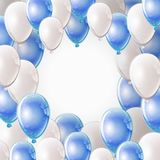 Balloons frame. Celebration party banner with white and blue shining balloons frame with place for text. Greeting, invitation card or flyer. Flying blue glitter Royalty Free Stock Photos
