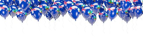 Balloons frame with flag of montserrat. Isolated on white. 3D illustration Royalty Free Stock Photography